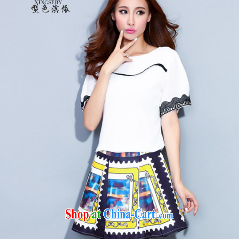Type color bin in accordance with the 2015 summer stamp half-skirt Kit large short skirt lace cuff antique ethnic wind Kit skirt white XL