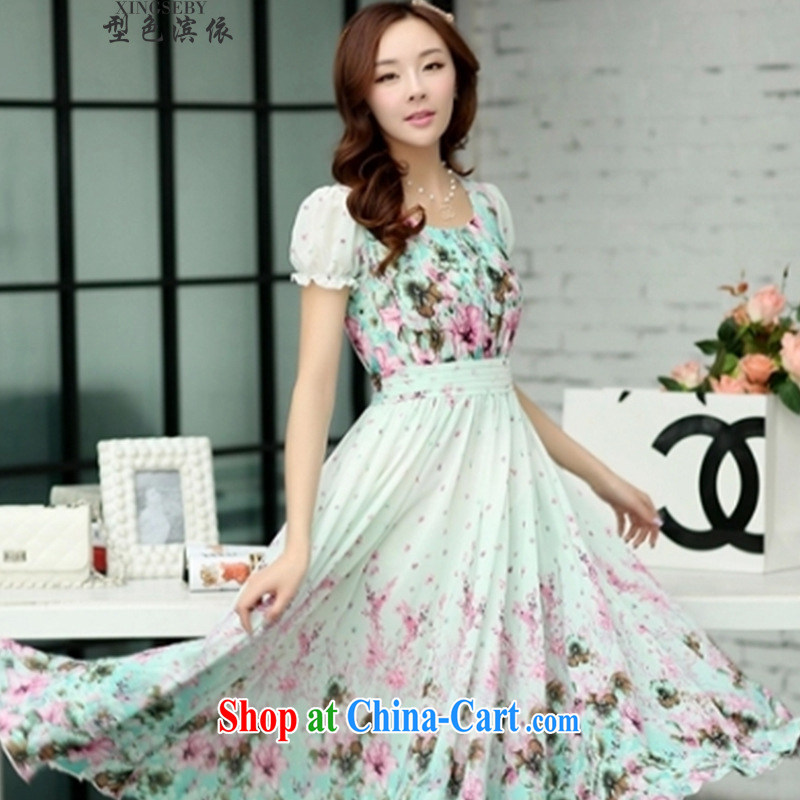 Type color foreshore to the 2015 summer girls long floral short-sleeve-cultivating waist long skirt beach skirt suit 2 XL