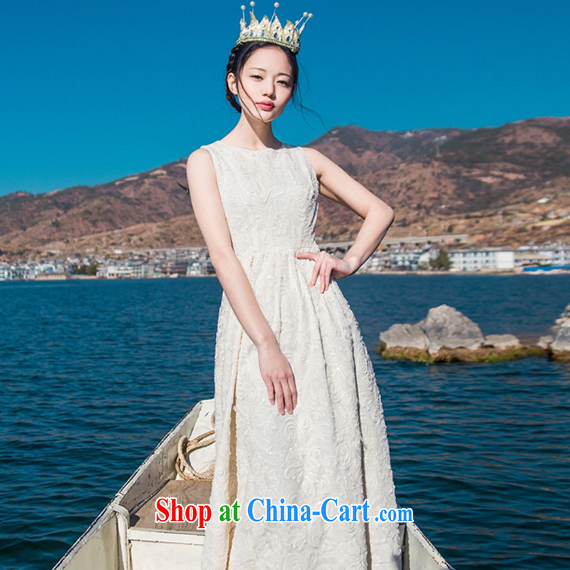 Left Long Term Name-yuan style high-end custom, cultivating dresses bohemian seaside resort long skirt sleeveless bridesmaid dress long skirt gold L