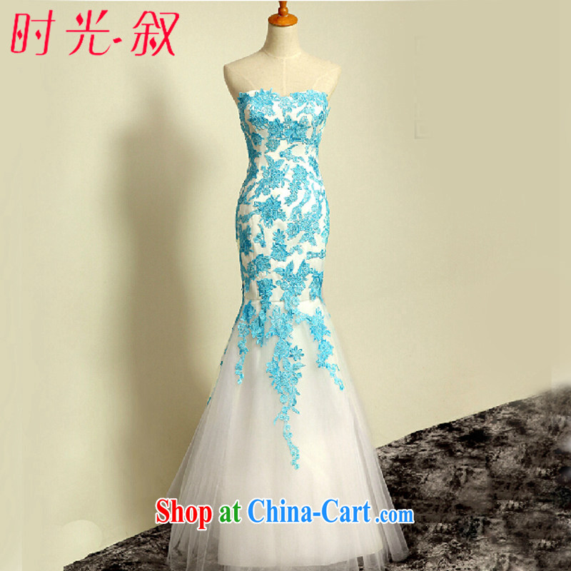 Time his bare chest at Merlion dress women Evening Dress 2015 new summer long wedding dress moderator graduation recital dress bridesmaid dress dress light blue XXL