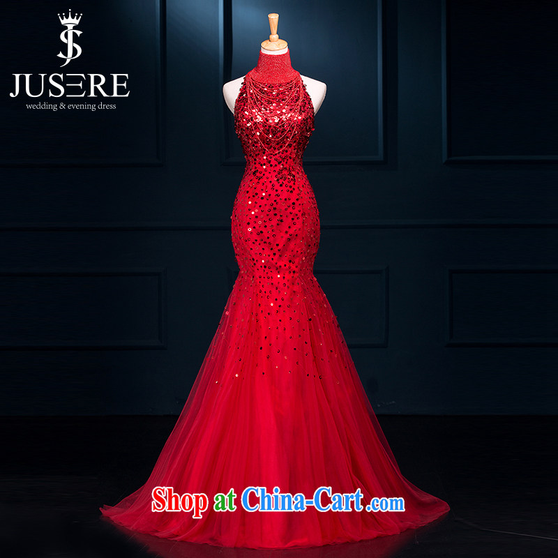 It is the JUSERE high-end wedding dresses 2015 new champagne Kim Woon-toast dress uniform high quality fabric wine red tailored