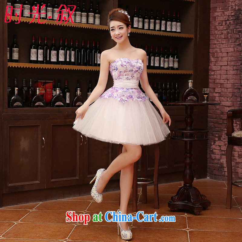 Time his Korean version wiped off chest strap small dress bridesmaid serving short married women toast service performance service moderator dress sister dress bridesmaid sister in light purple XXL