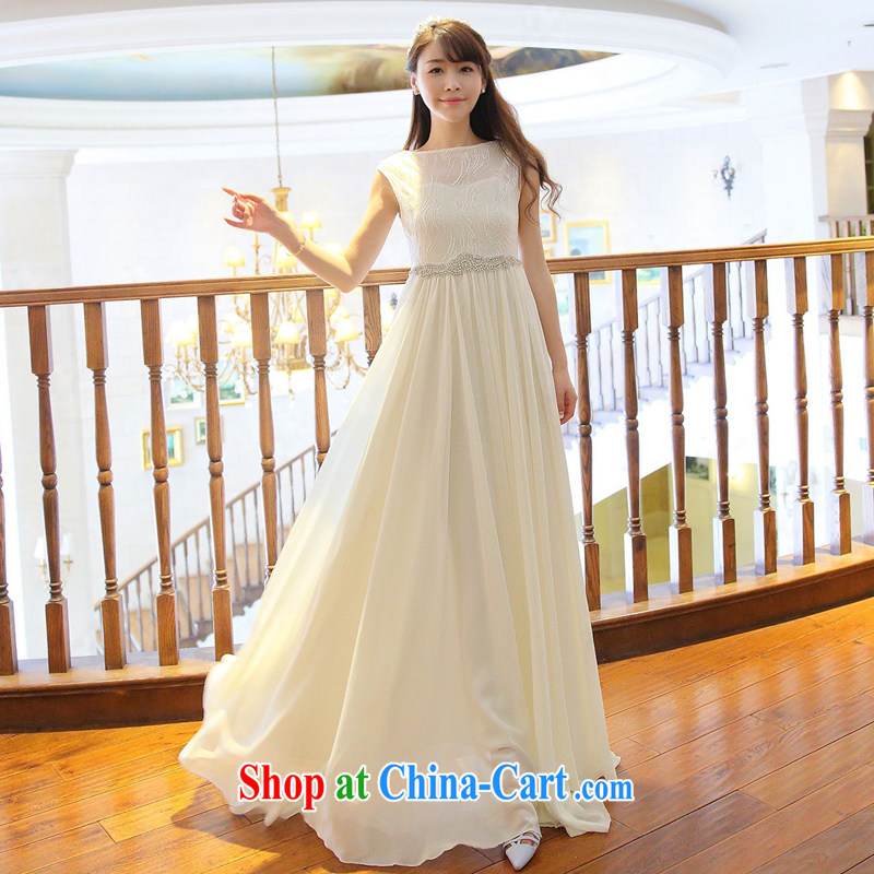 The long-awaited evening of Yuan to the staple Pearl inserts drill dresses with cultivating snow woven fairy skirt and white dress with skirt dinner toast bridesmaid dress summer white L