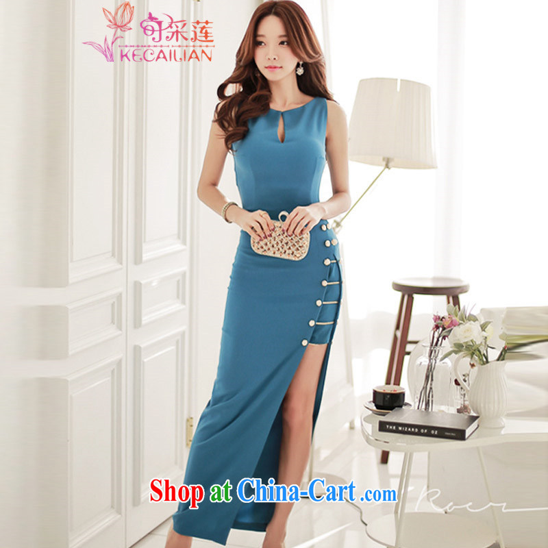 For the lotus-dress sense dress summer 2015 summer new dress sense of my store sleeveless dresses video thin the forklift truck package and long skirt picture color L