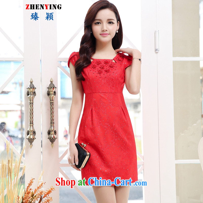 Zen Ying 2015 summer wedding dress red married women with toast the wedding dress banquet the evening dress uniform red XXL