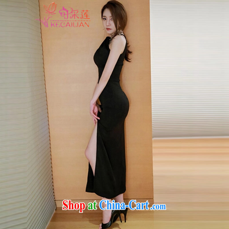 To Lin sexy dress skirt summer 2015 summer new Ladies Night sleeveless hang also dresses beauty graphics thin on the truck package and long skirt black M