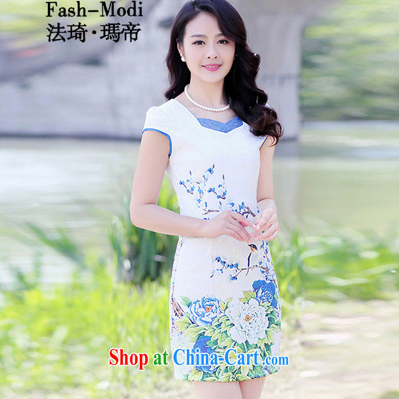 The ki Princess Royal 2015 new summer lady stylish daily cultivating improved cheongsam dress, long, stamp duty dress dress ethnic wind antique Tang replace the code female blue Peony XXXL