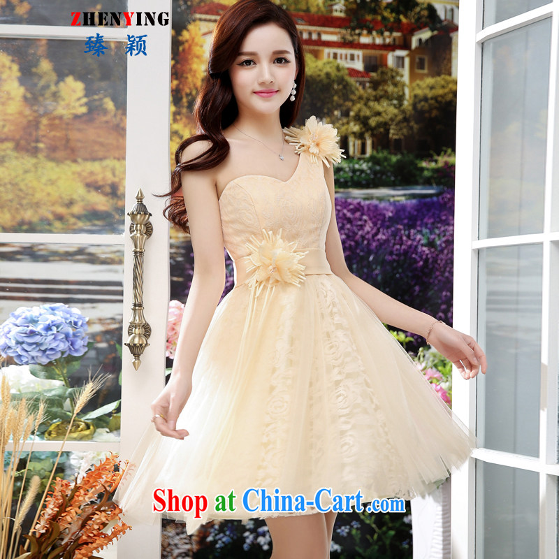 from Zen wedding dresses 2015 summer new dresses short Web dress bridesmaid dress and sisters single shoulder the root yarn large erase chest dress apricot XL