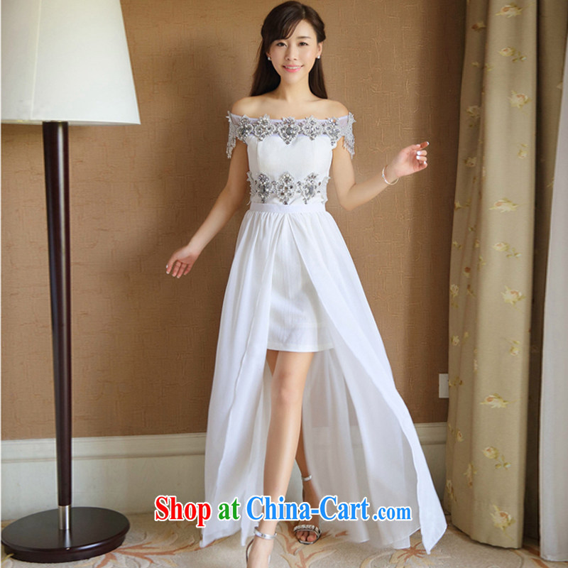 The long-awaited overnight 2015 summer new drill nails Pearl River Delta drill inserts a field for a dress or skirt length summer, two-piece of ritual dress bridesmaid dress white L