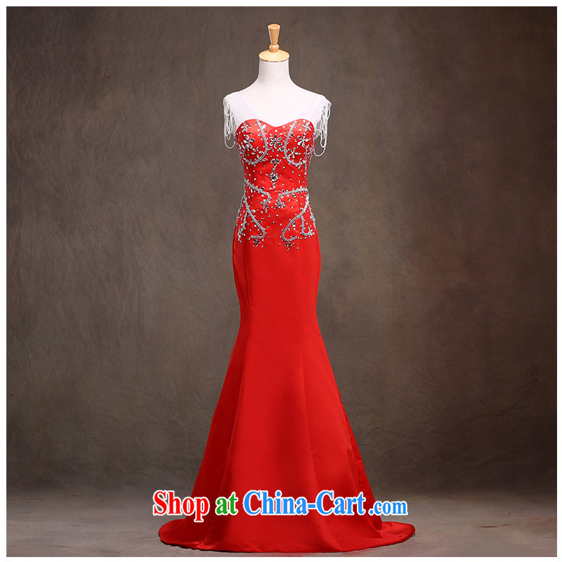 The beautiful yarn 2015 new straps V collar small tail at Merlion dress beauty double-shoulder bag terrace and graphics thin straps and stylish with a diamond wedding dress factory direct
