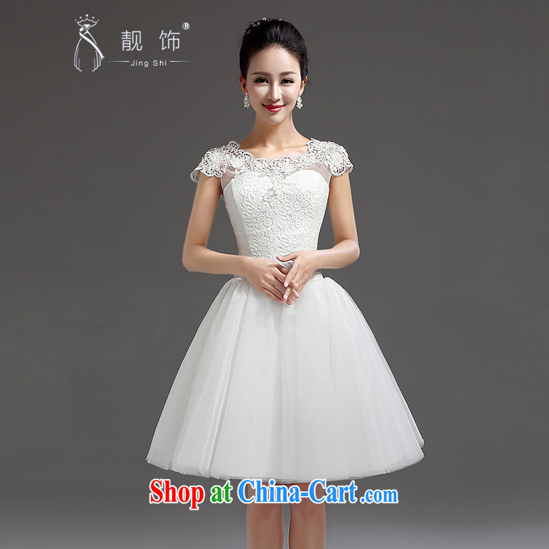 Beautiful ornaments 2015 new bridesmaid short small dress dress bridal evening dress short lace straps Princess skirt white. Contact customer service