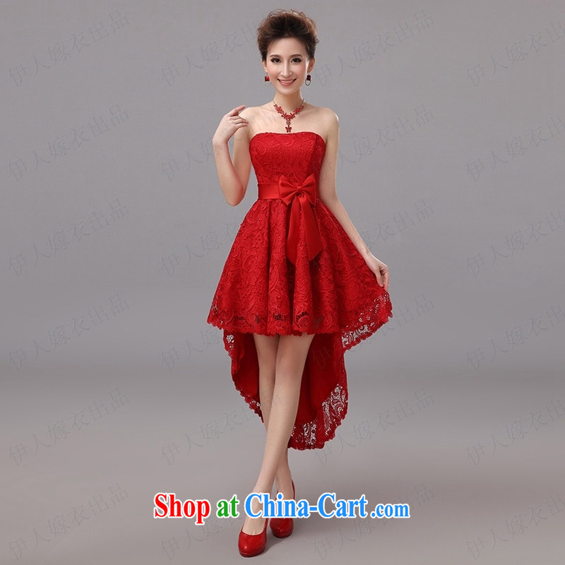 Pure bamboo yarn love moisture lace dresses short before long after cultivating legs nice small dress bridesmaid dress star wipe chest dress uniform performance stage red tailored contact Customer Service