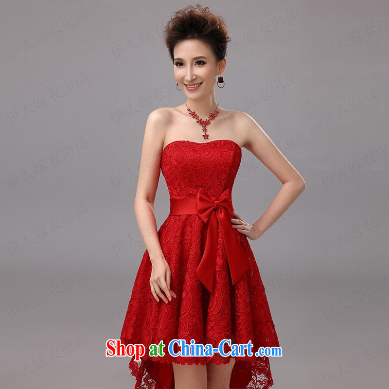 Pure bamboo yarn love moisture lace dresses short before long after the beauty and nice small dress bridesmaid dress star wiped his chest dress uniform performance stage red tailored contact customer service, pure bamboo love yarn, shopping on the Interne