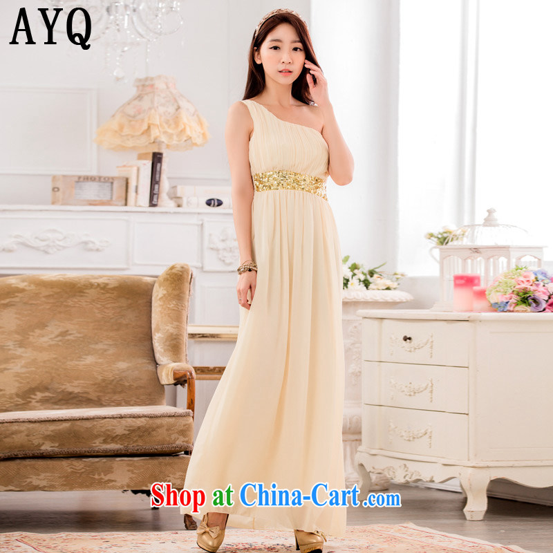 AIDS has been Qi and stylish appearance, shoulder-waist graphics thin ice woven dresses manually staple-ju long evening dress dresses T A 9634 - 1 champagne color XXXL