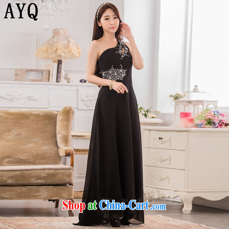 AIDS has been Qi high-end dinner show the dress stylish single shoulder manually staple snow Pearl woven long evening dress T A 9633 - 1 black XXXL