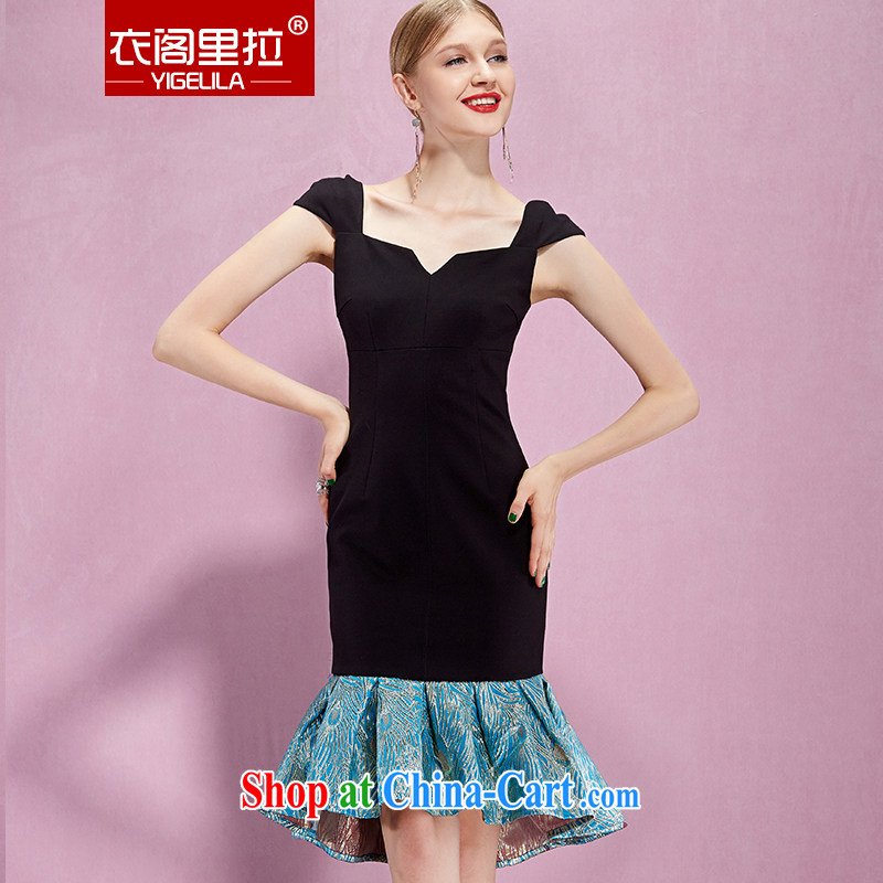 Yi Ge lire name Yuan aura collision color tile beauty-waist graphics thin crowsfoot dress dress black 61,086 M