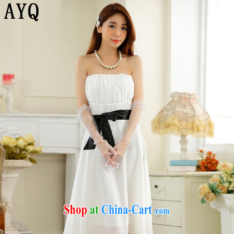 AIDS has been Qi minimalist style with bare chest large collision color belt snow woven Dinner Show dress dresses T A 9930 - 1 white XXXL