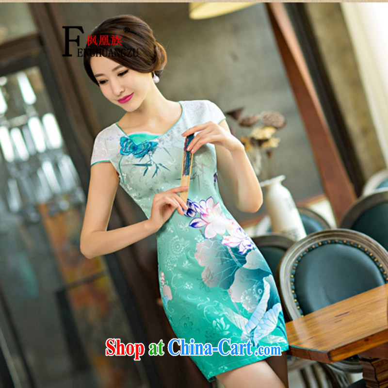 Feng for their 2015 new summer standard attire dresses Lotus the gradient improved stylish short cheongsam dress colored blue XXL