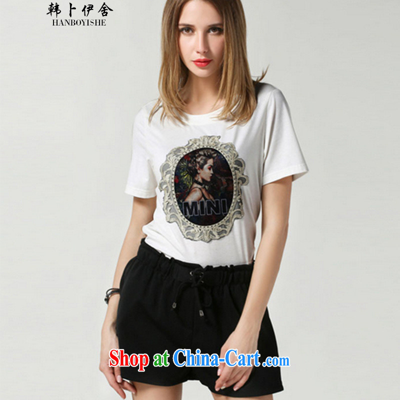 Korea, the Academic Building 2015 summer new, larger female thick mm personalized embroidery patterns package Bai 2.032673 billion large white code XXXXXL