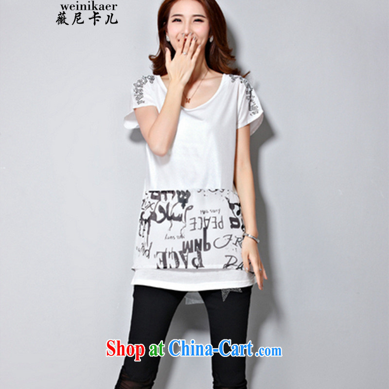 Ms Audrey EU, child-Q 2015 summer new thick MM increase the fat and stylish graphics thin hot drill T shirt T-shirt white L