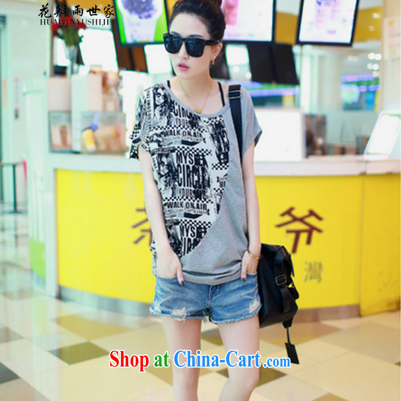 Petals rain saga should be 2015 new summer bat sleeves stitching snow woven shirts larger female short-sleeve T-shirt gray 3 XL