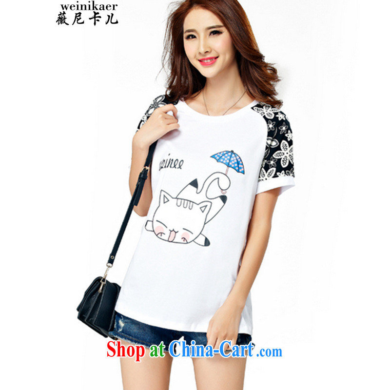 Ms Audrey EU, child-Q 2015 summer the Code women mm thick and fat XL T shirt short-sleeved video thin thick sister white 4XL