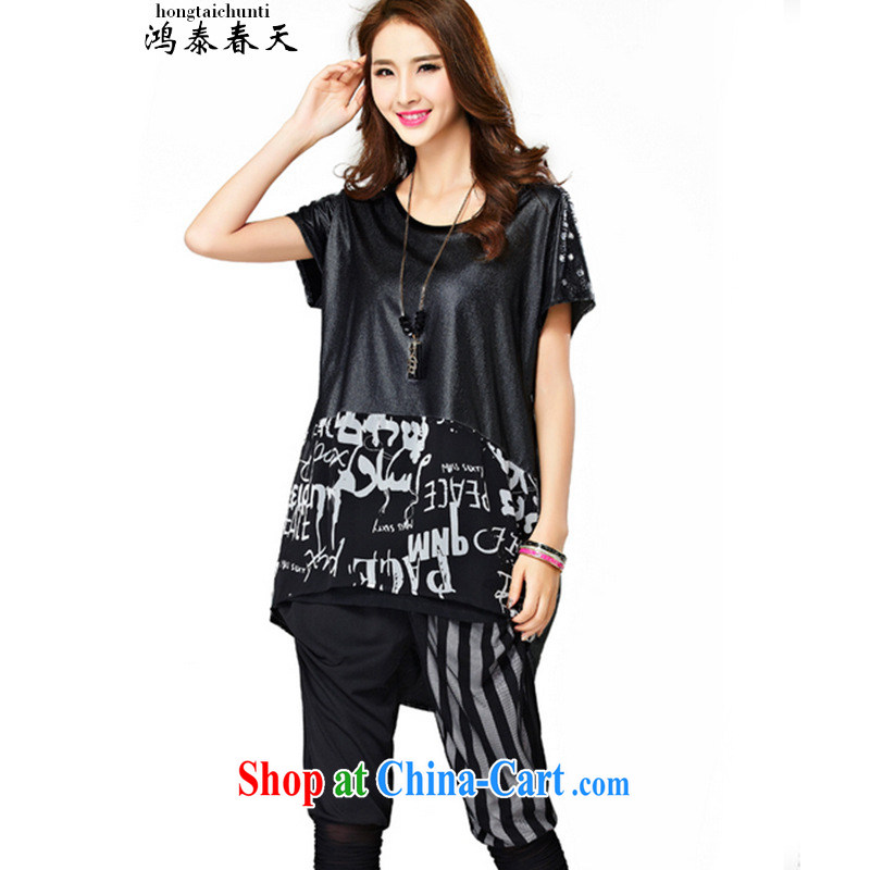 Leong Che-hung Tai SPRING SHOULD BE 2015 summer new thick MM increase the fat and stylish graphics thin hot drill T shirt T-shirt black L