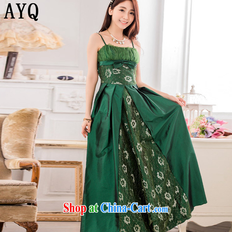 AIDS has been Qi stylish evening show the large long evening dress code the dress T A 9734 - 1 green XXXL