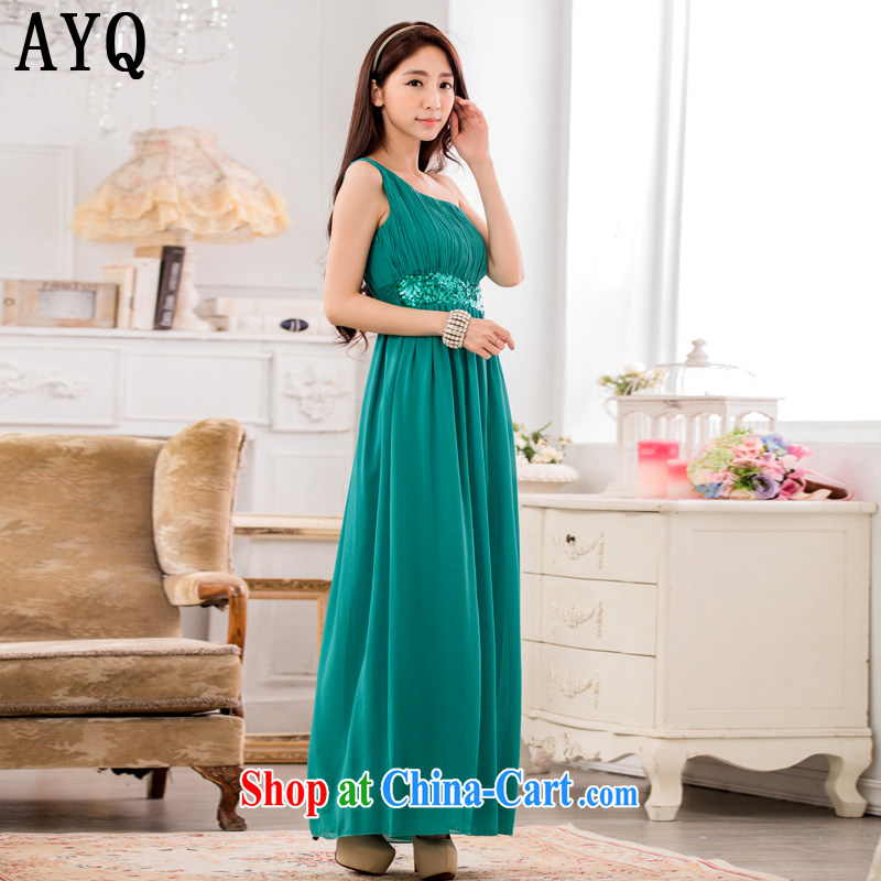 AIDS has been Qi and stylish appearance, shoulder-waist graphics thin ice woven dresses manually staple-ju long evening dress dresses T A 9634 - 1 green XXXL