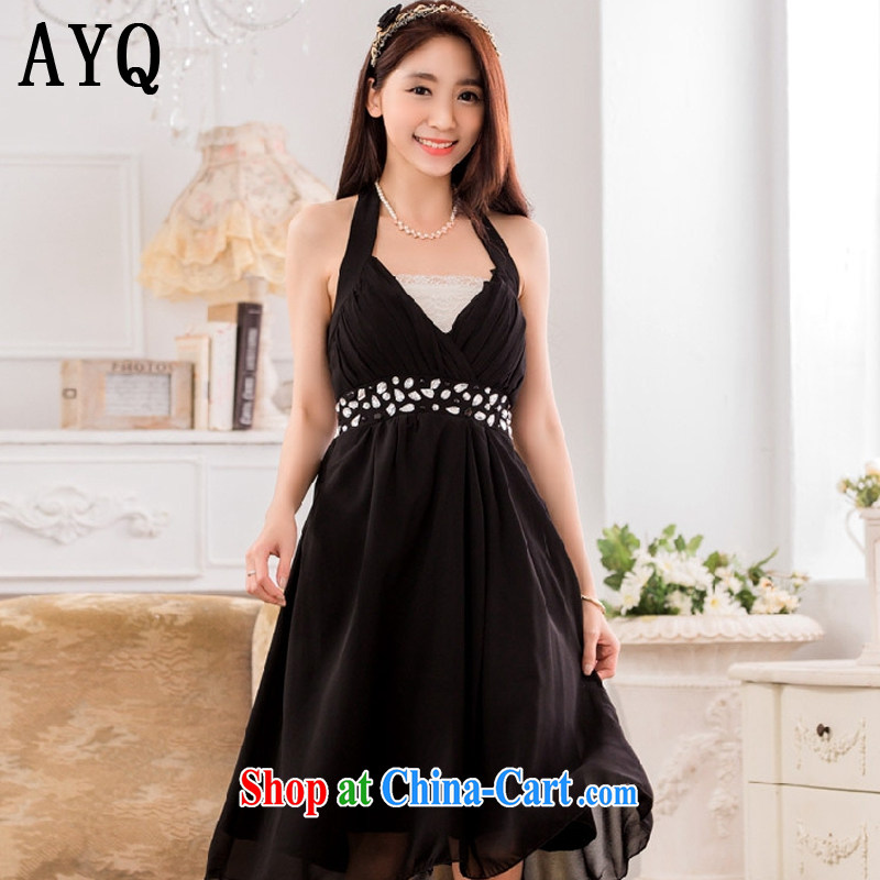 AIDS has been Qi sexy V collar scarf manually staple Pearl Light drill high snow woven dress small dress dresses T A 9632 - 1 black XXXL