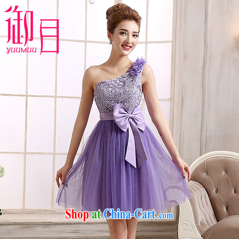 Imperial Palace, bridesmaid dress new bridesmaid mission Small dress lace single shoulder sister dress short bridal shaggy dress short bridesmaid dress a shoulder purple XL _120 - 135 _ jack