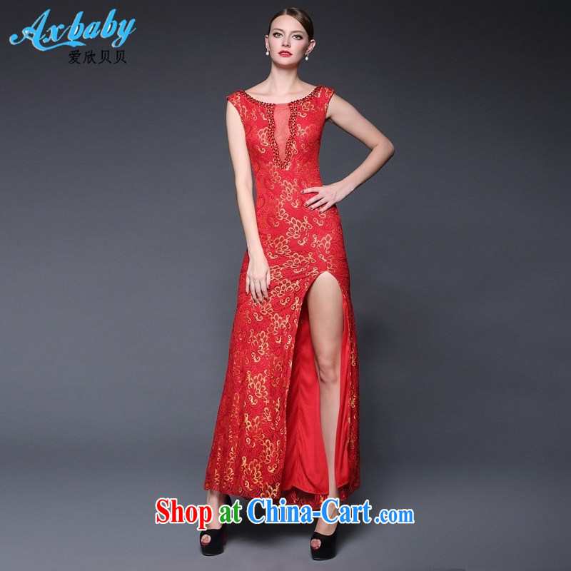 Love Yan Babe _Axbaby_ 2015 new lace sexy sleeveless open's long evening dress dresses W 0231 red are code
