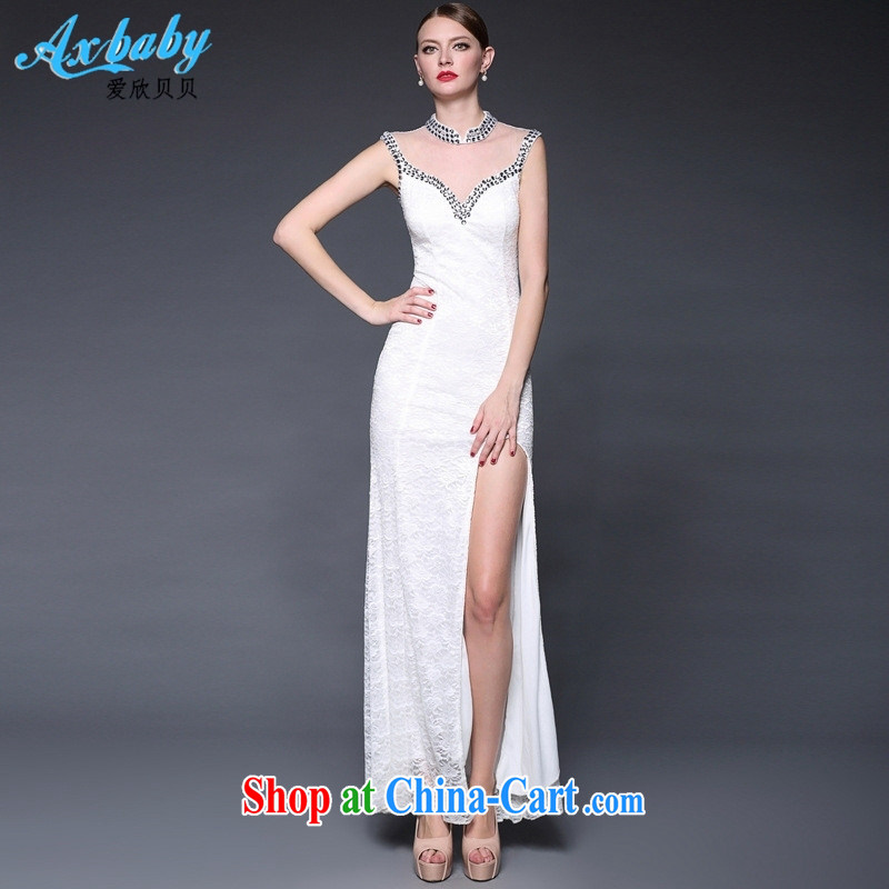 Love Yan Babe (AxBaby) 2015 new stitching lace manually staple Pearl dresses long, the forklift truck beauty dress white are code
