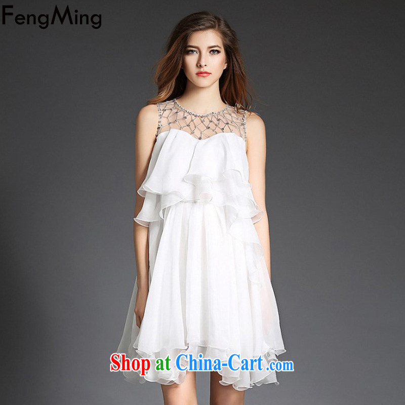 Abundant Ming summer 2015 European site nails Pearl inserts drill flouncing skirt dresses Web yarn stitching snow woven fairy cake skirt white M