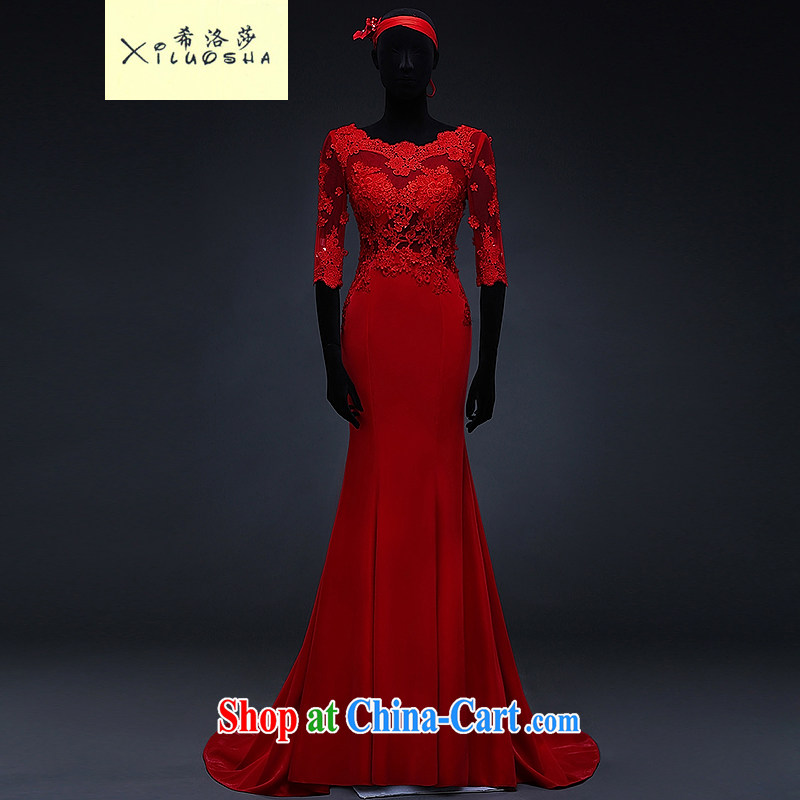 The Greek, Mona Lisa (XILUOSHA) bridal dresses 2015 new spring the Field shoulder lace bows service cuff tail red toast served at Merlion China Red XXL