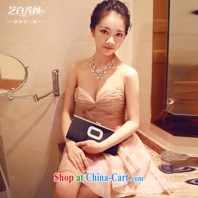 Art 100 Su Ge 2015 new erase chest bridal dress Original Design dinner appointment elegant beauty sexy sleeveless dresses skirts pink custom + 30 pink custom + $30