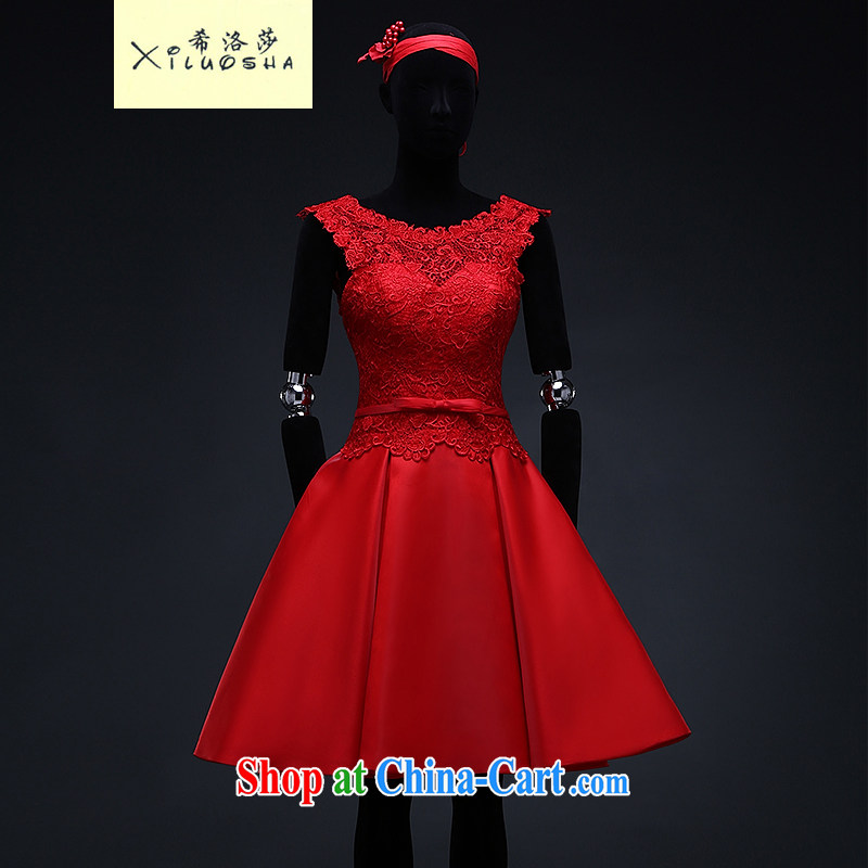 The Greek, Mona Lisa (XILUOSHA) bridal small dress red lace bows. Stylish wedding dress short Satin shoulders 2015 new summer China Red XXL