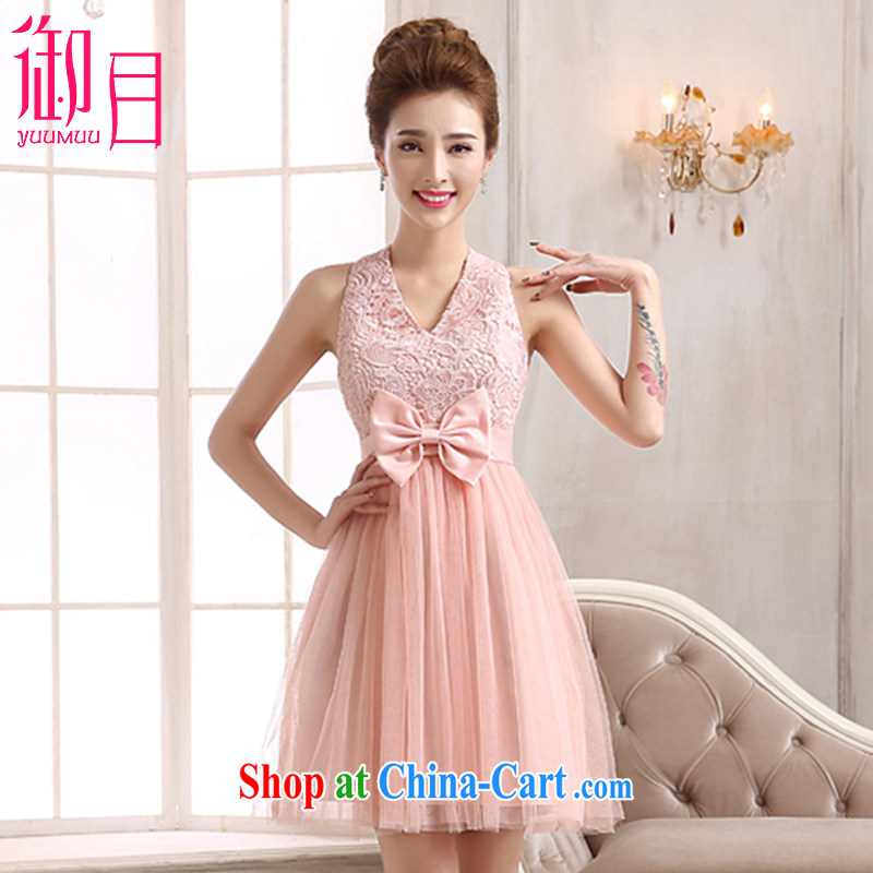 Imperial Palace, short dress 2015 new bridesmaid dress short shoulders small dress dress bridal Dinner served toast bridesmaid dress pink XL (120 - 135 ) jack