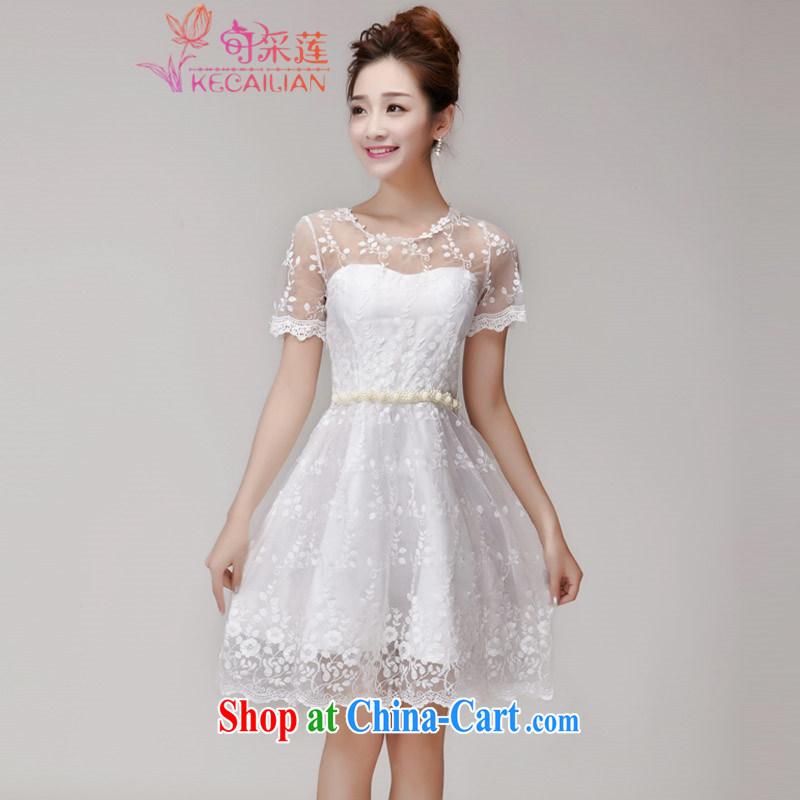 Can the lotus bridal Evening Dress bridesmaid dress summer 2015 summer new ladies dress lace hook flower Openwork Web yarn Princess skirt 506 white L