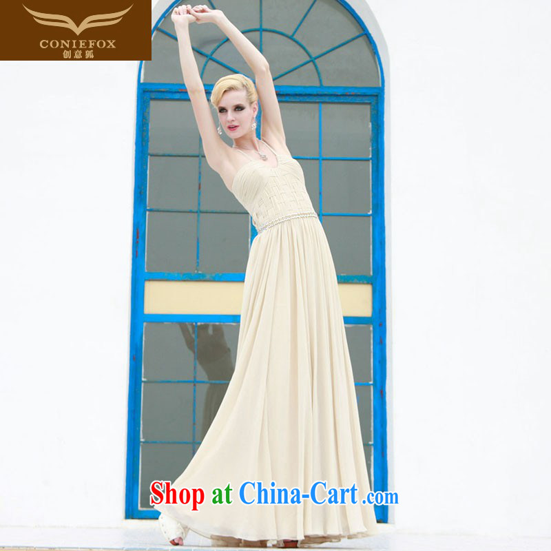 Creative Fox Evening Dress elegant long Graphics thin dress dress Evening Dress dress sexy straps dress annual meeting presided over 80,805 dresses white S
