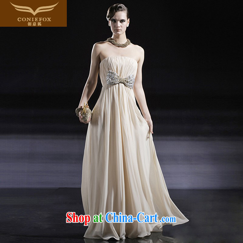 Creative Fox dress elegant long erase chest dress evening dress dress bridal wedding dress toast service annual meeting presided over 56,630 dresses picture color XXL