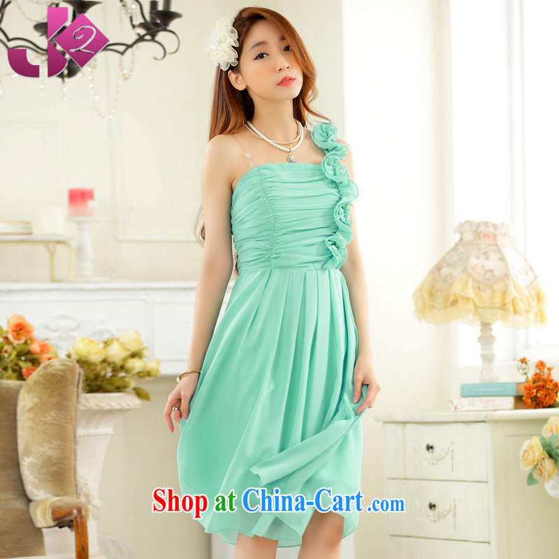 JK 2 2015 new sweet fungus single shoulder-waist snow woven large code dress in gathering performance dress pink bridesmaid clothing blue XXXL 175 recommendations about Jack