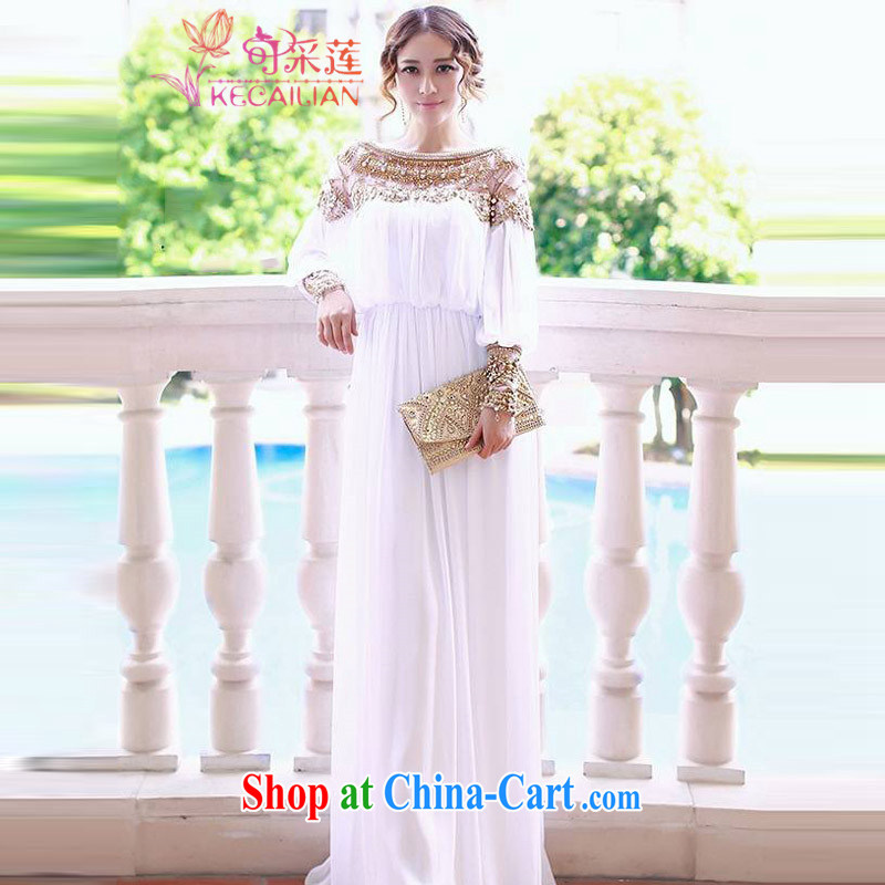 Can the lotus bridal gown bridesmaid dress summer 2015 summer new dress luxurious parquet drill nails Pearl White Sin dresses banquet dress white L