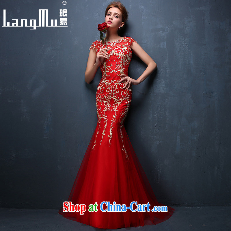 Luang Prabang in 2015 new summer dress red Fung Mo 9 days embroidery marriages served toast crowsfoot evening dress red XL