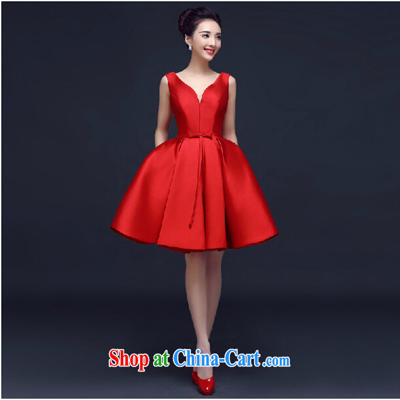 2015 new spring and summer wedding dresses bridal toast clothing stylish beauty short red wedding dress short dress theatrical service red M