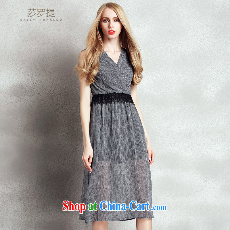 Elizabeth, mentioned in Europe and America, 2015 summer new elegant dress long skirt Deep V collar sexy beauty streaks aura sleeveless vest skirt support payments picture color XL