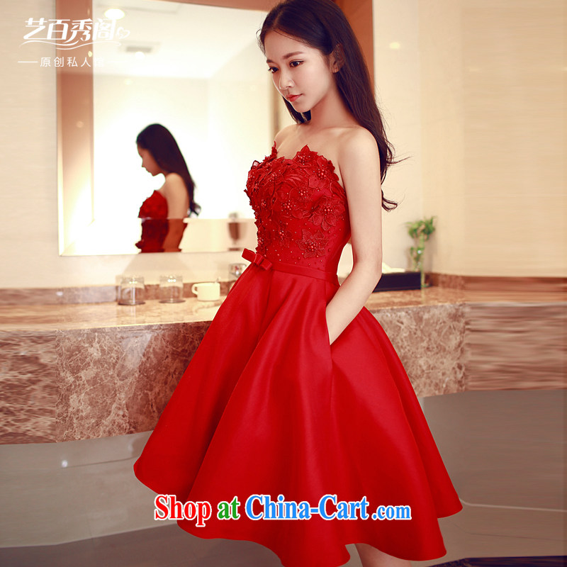 Art 100 Su Ge 2015 new erase chest bridal dress Original Design dinner appointment elegant beauty sleeveless bridesmaid dress short skirt red custom + 30 red custom + _30