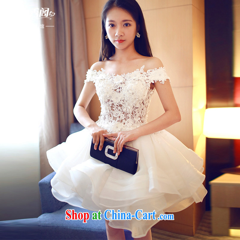 Art 100 Su Ge 2015 sense of the word shoulder dress Original Design dinner appointment elegant beauty sleeveless bridesmaid dress short skirt white custom + $30 white custom + $30