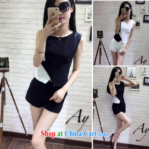 Korean sleeveless round neck-stitching side buckle clothing has been the Graphics thin-waist shorts Kit 6872 black are code