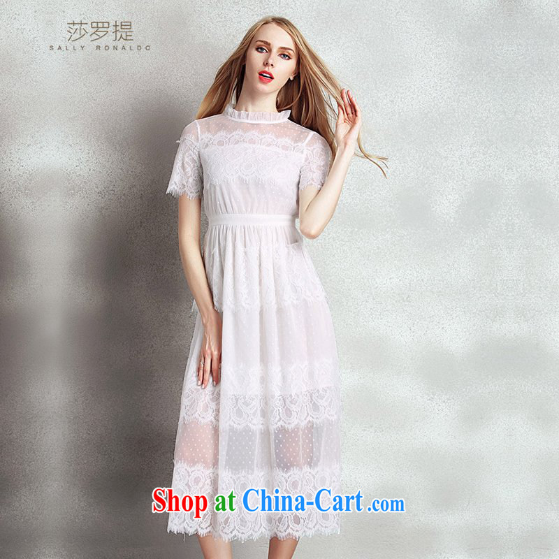 Elizabeth had mentioned, 2015 summer new elegance dress long skirt and collar embroidery lace stitching Web yarn beauty dresses support payments white XL